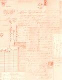 手写信件和邮票拼贴画背景  免版税图库摄影