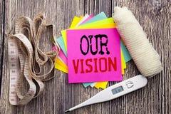 手写公告文本我们的视觉 企业健身空销售方针视觉书面稠粘的笔记的健康概念 免版税库存图片