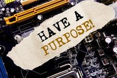 手写公告文本陈列有一个目的 梦想的企业概念选择在稠粘的笔记写的视觉,计算机m 免版税库存照片