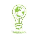 手写在闪亮指示的草图地球 免版税库存照片