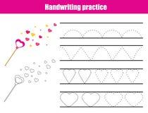 手写实践板料 教育儿童比赛,孩子的可印的活页练习题 训练可印的活页练习题的文字 心脏 库存例证