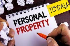 手写文本个人财产 概念意思财产财产财产人写的私人个体所有者在Notep 图库摄影