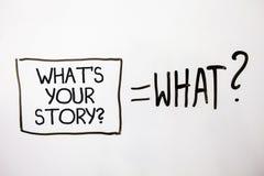 手写文本什么是您的故事问题 要求概念的意思某人告诉我关于他自己白色阴影消息要求eq 免版税库存照片