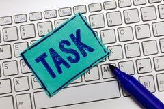 手写文本任务 意味A部分工作将做和被承担的活动需要的概念执行 免版税库存图片