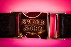 手写文本份额您的故事诱导电话 书面的概念意思经验乡情记忆个人词黑金子 图库摄影