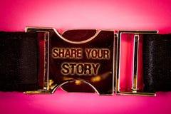 手写文本份额您的故事 书面的概念意思经验讲故事乡情想法记忆个人词黑色 库存照片