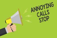 手写文本使困恼的电话中止 概念意思防止列入黑名单数字恼怒的访问者公告标志sp的垃圾短信电话 免版税库存图片