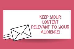 手写文本保持您的内容相关与您的观众 概念意思好营销策略快速地交付 向量例证