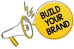 手写文本修造您的品牌 概念意思做一个商业身分营销广告表达消息 库存例证