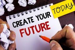 手写文本创造您的未来 人写的概念意思事业目标目标改善集合计划学会在笔记薄 免版税图库摄影