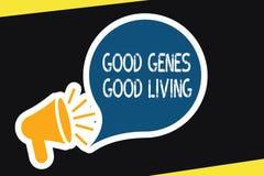 手写文本好基因好生活 概念意思在长寿健康生活中继承了基因结果 皇族释放例证