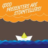 手写文本好赠送者是讲故事者 概念意思伟大的通信装置讲优秀故事挥动重的云彩 向量例证