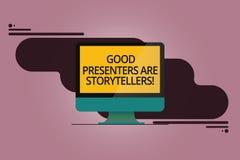 手写文本好赠送者是讲故事者 概念意思伟大的通信装置讲登上的优秀故事 库存例证