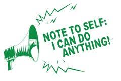 手写文本对自已的文字笔记我可以做任何东西 概念做某事的意思刺激信心绿色扩音机 库存例证