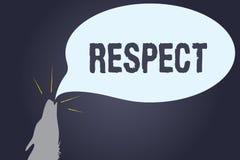 手写文本尊敬 概念深刻的倾慕的意思感觉对某人或某事的欣赏 向量例证