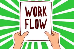 手写文本工作流程 概念某一任务的意思连续性到/从举行纸impor的一个办公室或雇主人的 库存例证