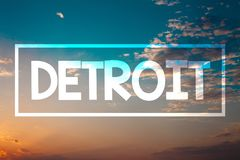 手写文本底特律 概念意思城市在密执安Motown日落蓝色海滩桔子的美利坚合众国首都 免版税库存图片