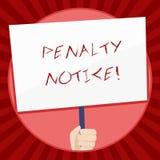 手写文本惩罚通知 意味直接罚款的概念被给显示轻罪的递藏品 皇族释放例证