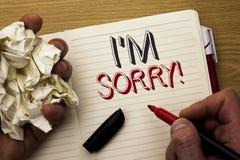 手写文本我抱歉的m 概念意思道歉人写的良心感受懊歉然懊悔悲哀在N 免版税库存图片