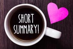 手写文本摘要诱导电话 意味要点的简短声明的概念清楚地抢劫咖啡可爱的想法 免版税图库摄影