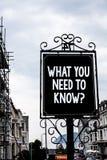 手写文本文字什么您需要认识问题 概念意思教育开发您的知识和技能葡萄酒blac 免版税库存照片