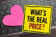 手写文本文字什么s是真实的价格问题 概念意思给在b或事务的写的实际价值物产 库存照片