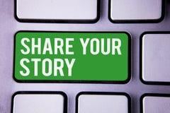 手写文本文字份额您的故事 概念意思经验讲故事乡情想法记忆个人白色文本t 免版税库存图片