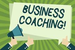 手写文本文字企业教练 提供支持和偶尔的忠告的概念意思给个体 库存例证