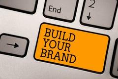手写文本文字修造您的品牌 概念意思做一台商业身分营销广告键入的工作计算机 皇族释放例证