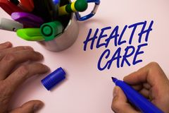 手写文本文字医疗保健 意味物理精神情况的医疗维护改善的概念供以人员工作  库存照片