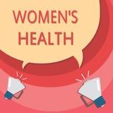 手写文本文字妇女s是健康 意味Women'的概念; s避免病症的身体健康后果 库存例证