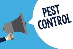 手写文本文字害虫控制 攻击庄稼和拿着我的家畜人杀害破坏性的昆虫的概念意思 库存例证