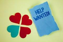 手写文本文字帮助想要诱导电话 概念意思雇员需要的工作者补充Headhunting 库存照片