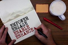 手写文本文字授权允诺使能提高 概念意思援权领导刺激订婚稠粘的笔记r 免版税库存照片