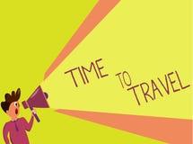 手写文本文字时间旅行 移动或去从一个地方的概念意思到另一个在度假 库存例证
