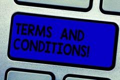 手写文本文字期限和条件 概念意思细节申请负担某一合同的规则 免版税库存照片