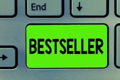 手写文本文字畅销书 概念意思在大数成功的文学卖的书产品 免版税库存图片