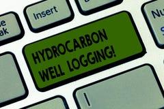 手写文本文字碳氢化合物钻井测试 概念钻孔键盘键的地质结构的意思纪录 免版税库存照片