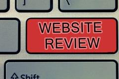 手写文本文字网站回顾 概念可以被张贴关于企业和服务的意思回顾 免版税库存照片