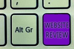 手写文本文字网站回顾 概念可以被张贴关于企业和服务的意思回顾 免版税库存图片