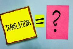 手写文本文字翻译 翻译的概念意思书面或打印的过程措辞文本声音尼斯颜色灰色 免版税库存照片