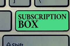 手写文本文字订阅箱子 概念意思按钮,如果您点击了将得到新闻或录影关于站点 免版税库存照片