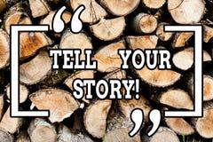手写文本文字讲您的故事 表达概念的意思叙述您的感觉写您的传记 免版税库存照片