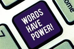 手写文本文字词有力量 概念意思能量能力愈合更加后面的帮助贬低并且欺凌 库存照片
