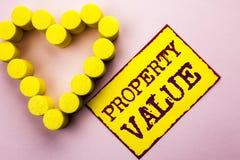 手写文本文字财产价值 概念相当在黄色Sti写的房地产住宅估价价值的意思估计 免版税库存图片