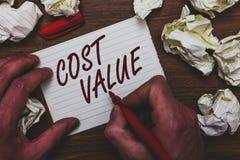 手写文本文字费用价值 意味通常支付项目的数额您买或聘用人人藏品的概念 免版税库存图片