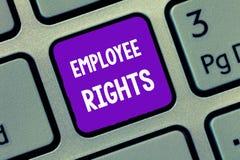 手写文本文字雇员权利 意味所有雇员的概念有基本权利在他们自己的工作场所 免版税图库摄影