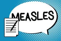 手写文本文字麻疹 意味感染病毒疾病的概念导致热病和红色疹在皮肤 向量例证