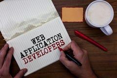 手写文本文字Web应用程序开发商 概念意思互联网编程的专家技术软件稠粘的笔记 图库摄影