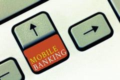 手写文本流动银行业务 概念意思监视转移资金比尔付款的帐户余额 免版税库存照片